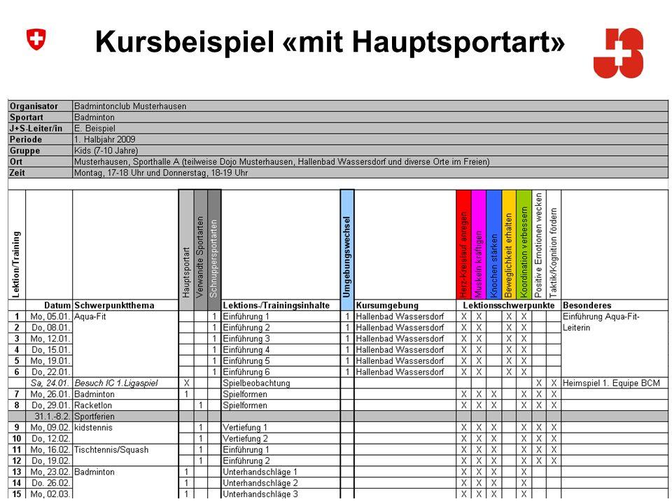 5 Bundesamt für Sport Jugend+Sport Kursbeispiel «mit Hauptsportart»