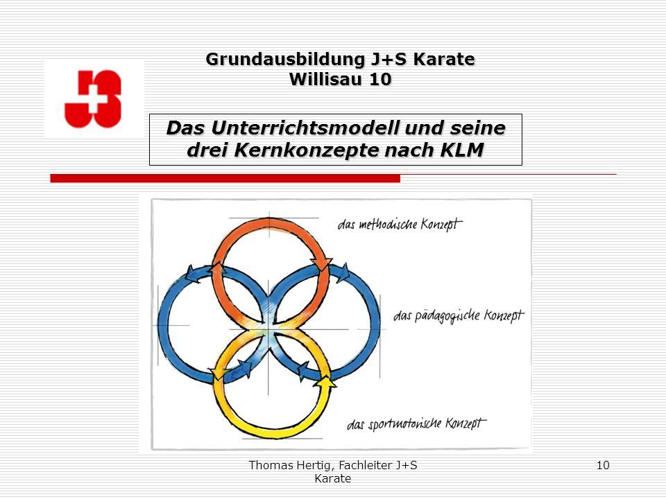 Thomas Hertig, Fachleiter J+S Karate 10 Das Unterrichtsmodell und seine drei Kernkonzepte nach KLM Grundausbildung J+S Karate Willisau 10