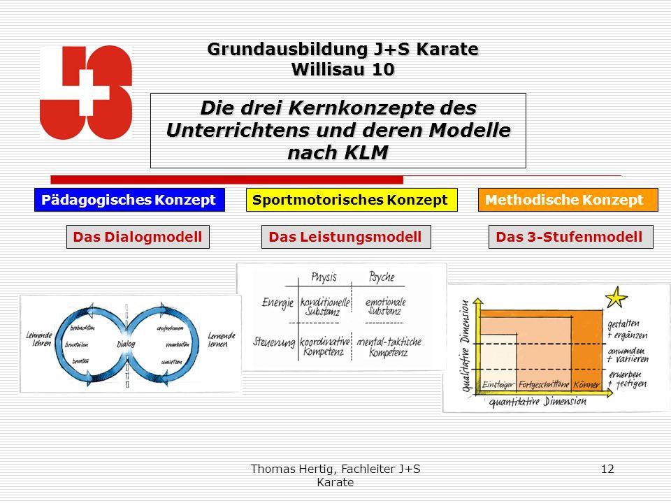 Thomas Hertig, Fachleiter J+S Karate 12 Die drei Kernkonzepte des Unterrichtens und deren Modelle nach KLM Pädagogisches KonzeptMethodische KonzeptSpo