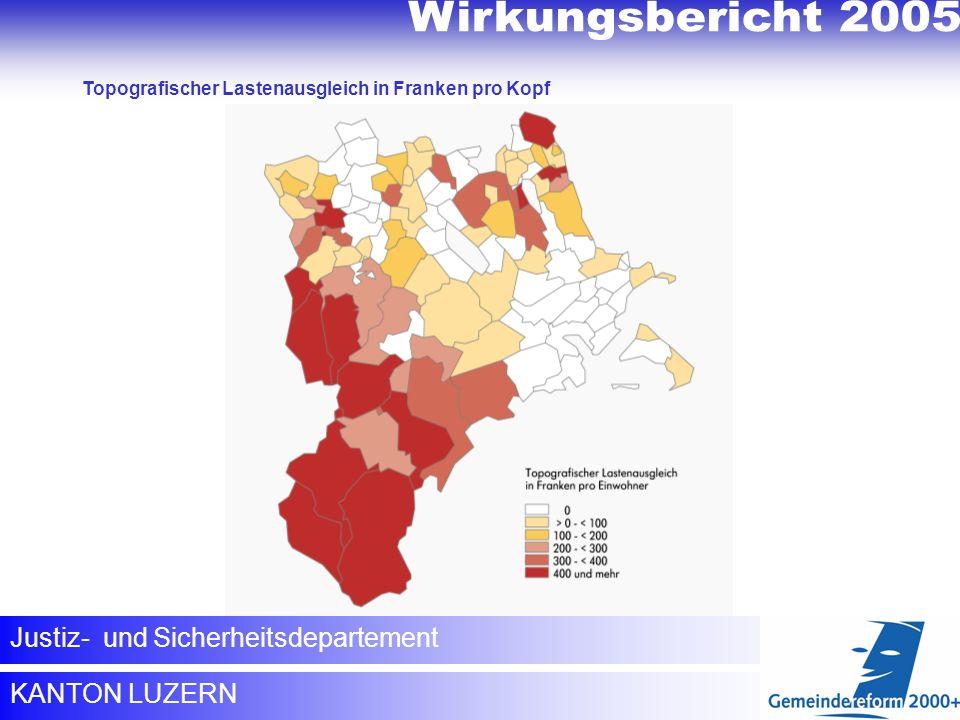 Topografischer Lastenausgleich KANTON LUZERN Justiz- und Sicherheitsdepartement Topografischer Lastenausgleich in Franken pro Kopf