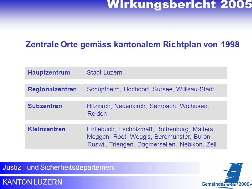 KANTON LUZERN Justiz- und Sicherheitsdepartement Regionalzentren Schüpfheim, Hochdorf, Sursee, Willisau-Stadt Hauptzentrum Stadt Luzern Subzentren Hit