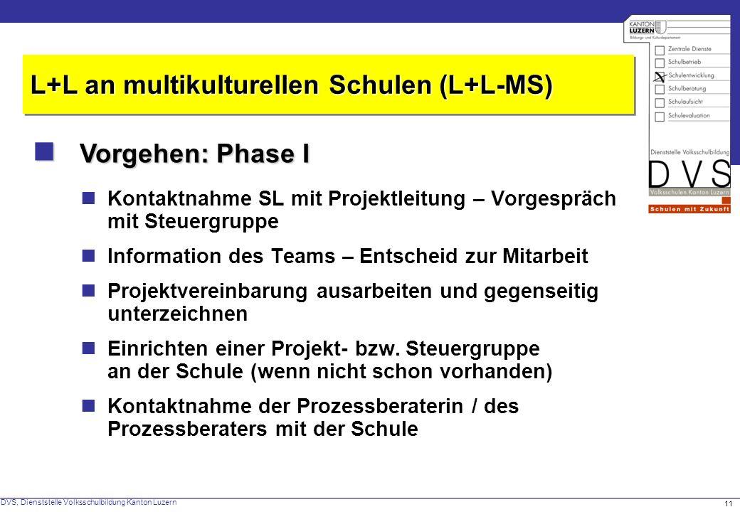 DVS, Dienststelle Volksschulbildung Kanton Luzern 11 Vorgehen: Phase I Vorgehen: Phase I L+L an multikulturellen Schulen (L+L-MS) Kontaktnahme SL mit