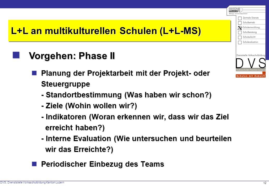 DVS, Dienststelle Volksschulbildung Kanton Luzern 12 Vorgehen: Phase II Vorgehen: Phase II L+L an multikulturellen Schulen (L+L-MS) Planung der Projek