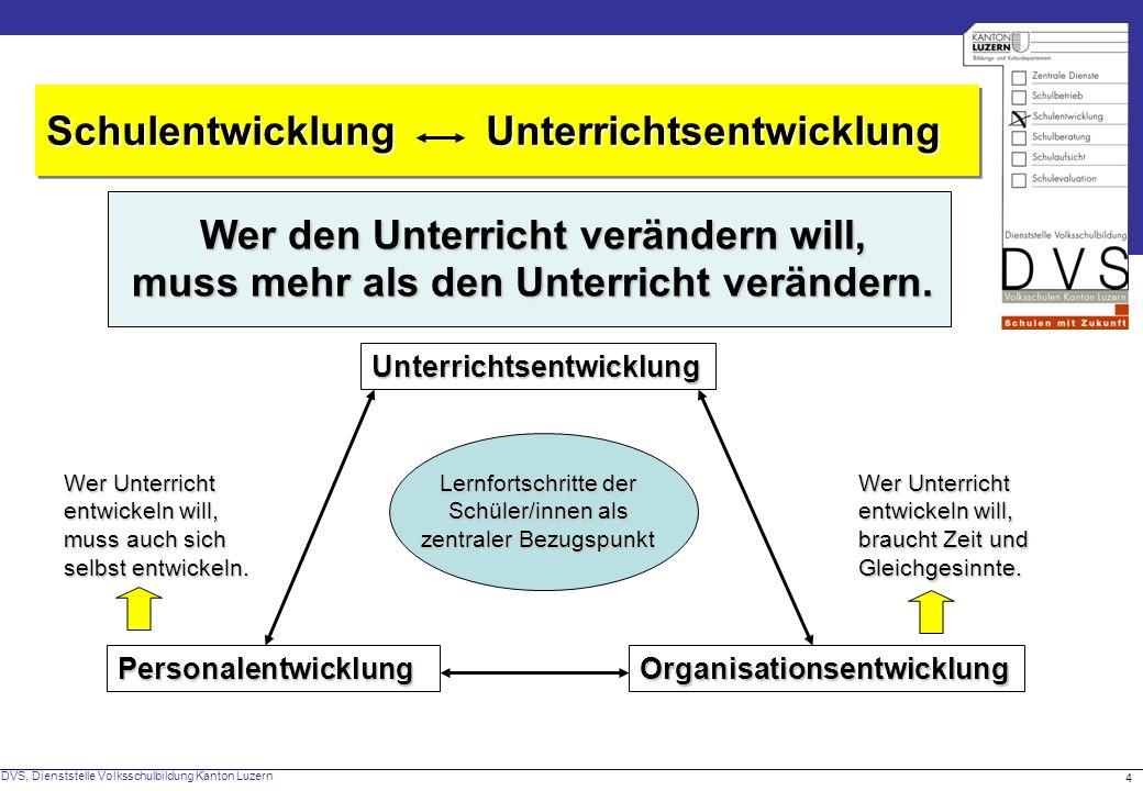 DVS, Dienststelle Volksschulbildung Kanton Luzern 4 Schulentwicklung Unterrichtsentwicklung Wer den Unterricht verändern will, muss mehr als den Unter