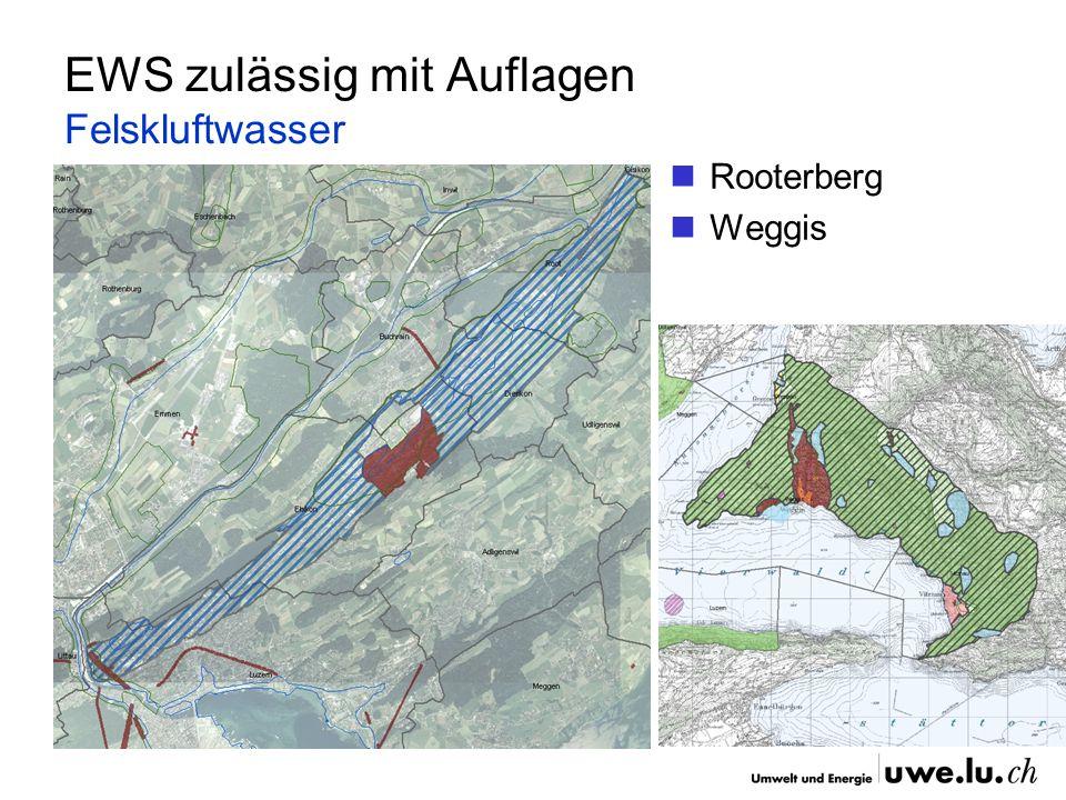 EWS zulässig mit Auflagen Felskluftwasser Rooterberg Weggis