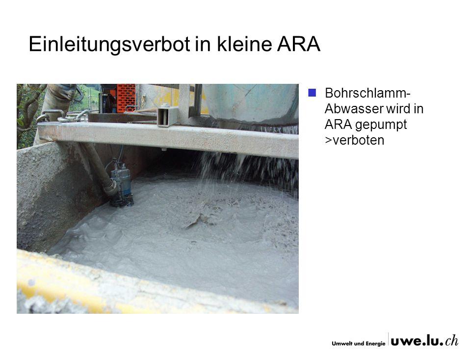 Einleitungsverbot in kleine ARA Bohrschlamm- Abwasser wird in ARA gepumpt >verboten