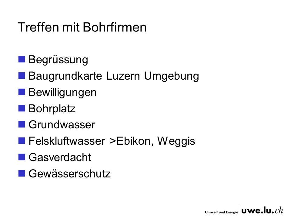 Treffen mit Bohrfirmen Begrüssung Baugrundkarte Luzern Umgebung Bewilligungen Bohrplatz Grundwasser Felskluftwasser >Ebikon, Weggis Gasverdacht Gewäss