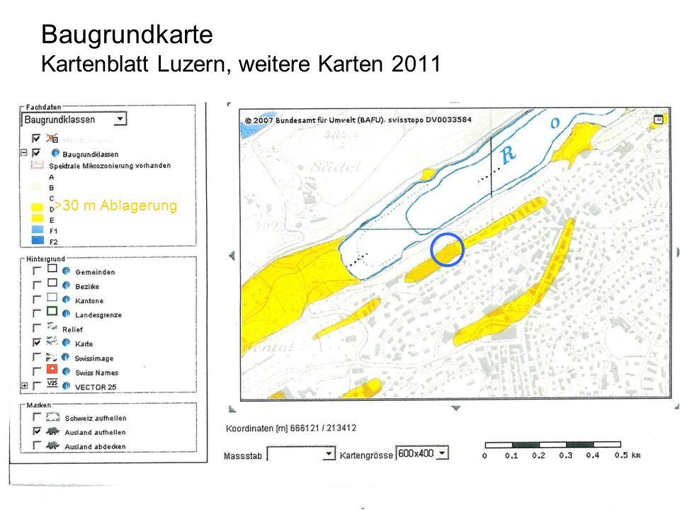 >30 m Ablagerung Baugrundkarte Kartenblatt Luzern, weitere Karten 2011