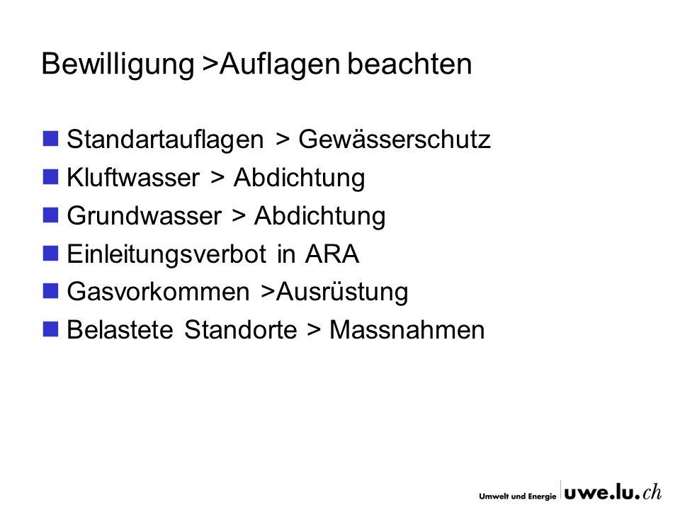 Bewilligung >Auflagen beachten Standartauflagen > Gewässerschutz Kluftwasser > Abdichtung Grundwasser > Abdichtung Einleitungsverbot in ARA Gasvorkomm