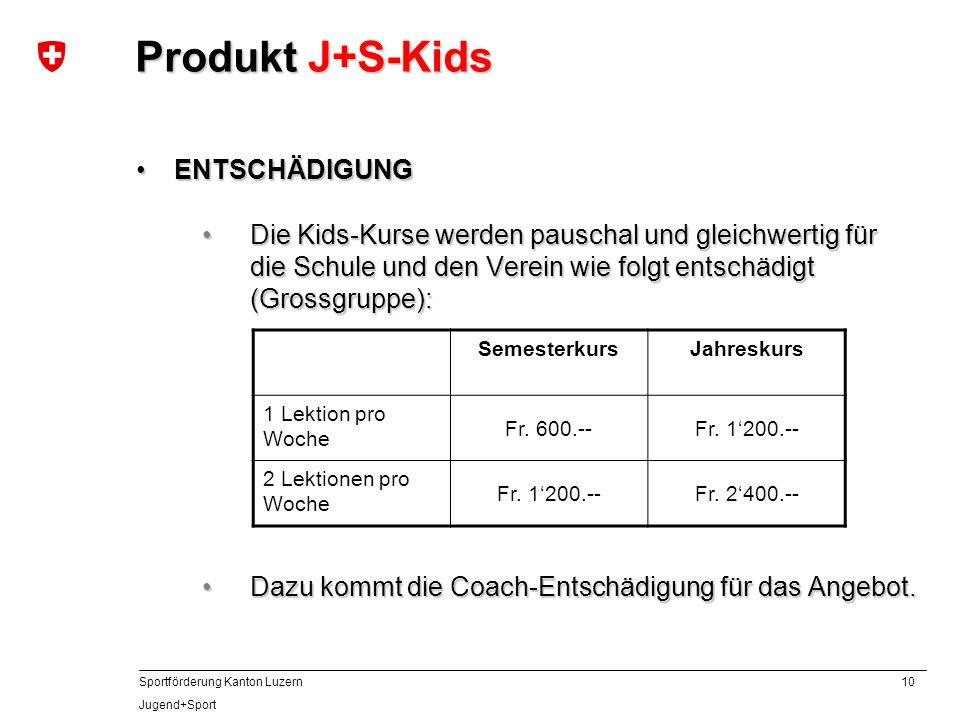 10 Sportförderung Kanton Luzern Jugend+Sport ENTSCHÄDIGUNGENTSCHÄDIGUNG Die Kids-Kurse werden pauschal und gleichwertig für die Schule und den Verein
