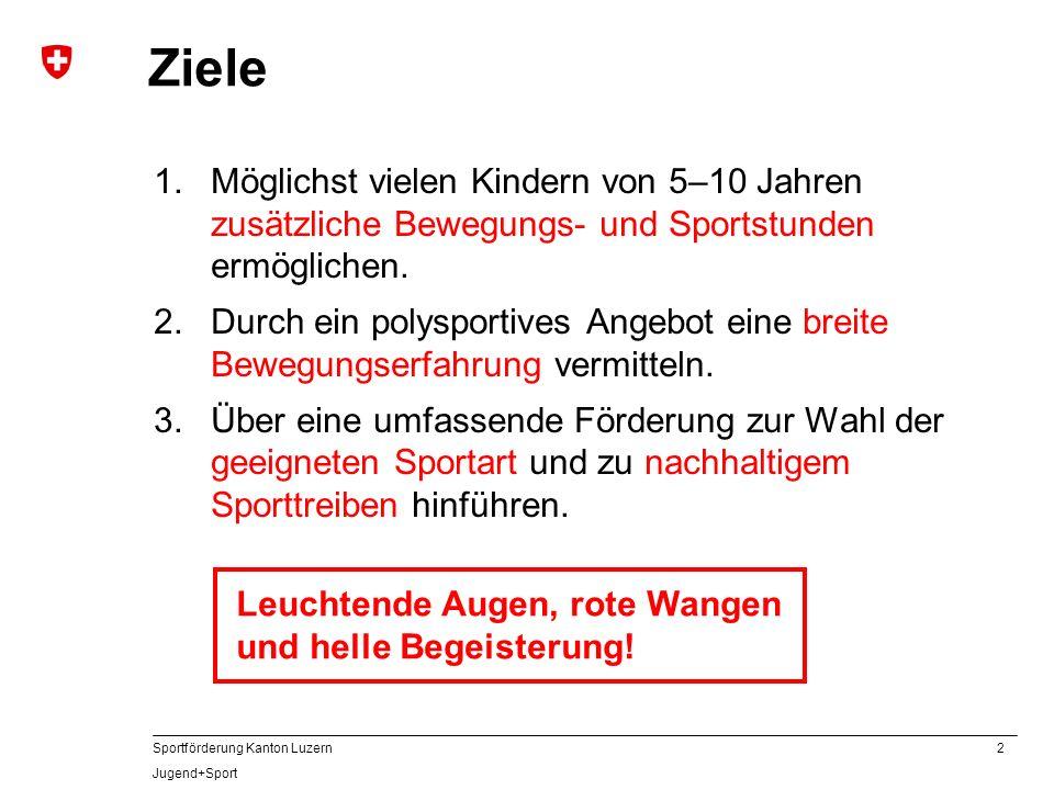 2 Sportförderung Kanton Luzern Jugend+Sport Ziele 1.Möglichst vielen Kindern von 5–10 Jahren zusätzliche Bewegungs- und Sportstunden ermöglichen. 2.Du