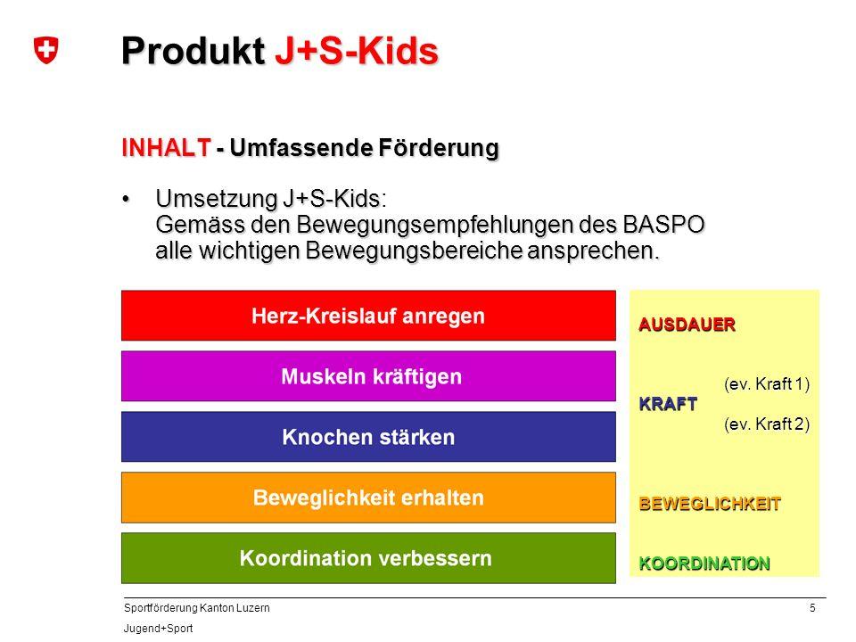 5 Sportförderung Kanton Luzern Jugend+Sport INHALT - Umfassende Förderung Umsetzung J+S-Kids Gemäss den Bewegungsempfehlungen des BASPO alle wichtigen