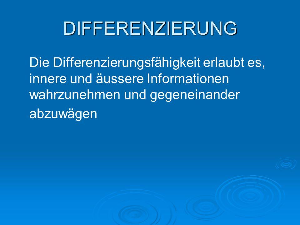 Die Differenzierungsfähigkeit erlaubt es, innere und äussere Informationen wahrzunehmen und gegeneinander abzuwägen DIFFERENZIERUNG