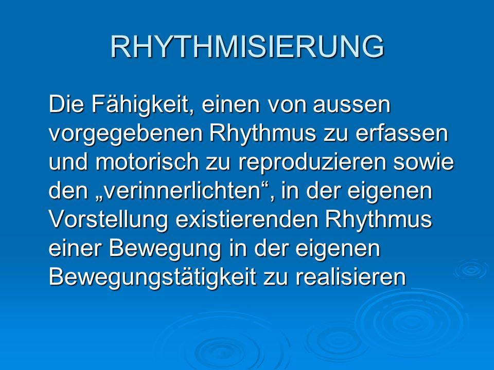 Die Fähigkeit, einen von aussen vorgegebenen Rhythmus zu erfassen und motorisch zu reproduzieren sowie den verinnerlichten, in der eigenen Vorstellung