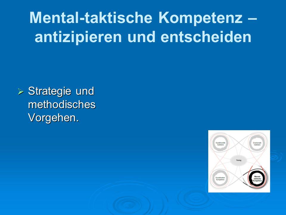 Mental-taktische Kompetenz – antizipieren und entscheiden Strategie und methodisches Vorgehen. Strategie und methodisches Vorgehen.