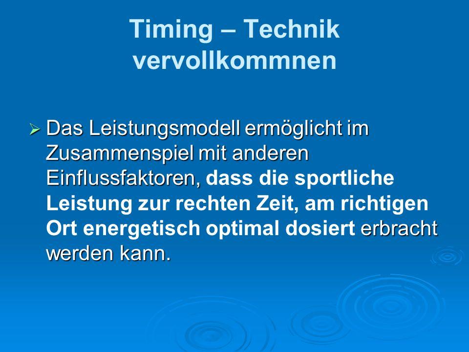 Timing – Technik vervollkommnen Das Leistungsmodell ermöglicht im Zusammenspiel mit anderen Einflussfaktoren, erbracht werden kann. Das Leistungsmodel