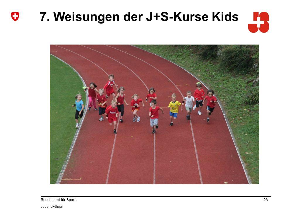 28 Bundesamt für Sport Jugend+Sport 7. Weisungen der J+S-Kurse Kids