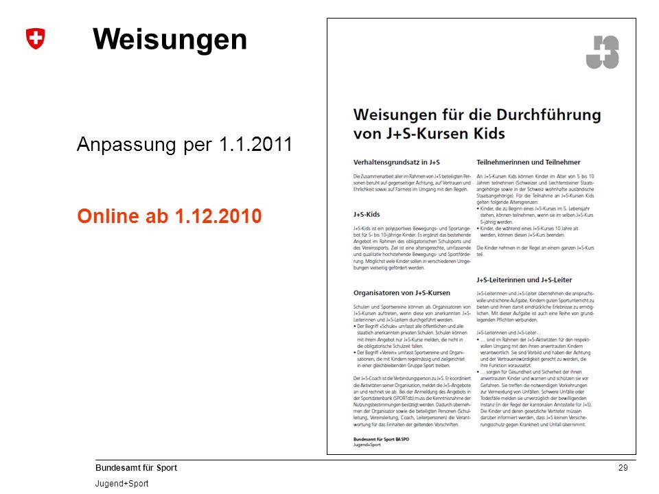 29 Bundesamt für Sport Jugend+Sport Weisungen Anpassung per 1.1.2011 Online ab 1.12.2010