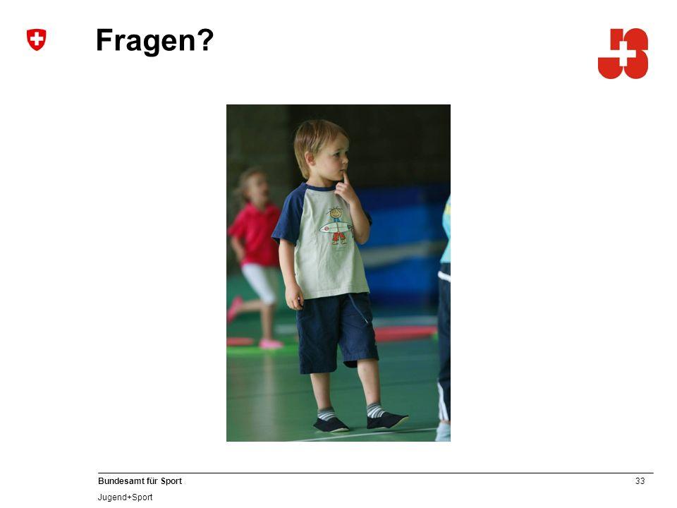 33 Bundesamt für Sport Jugend+Sport Fragen?