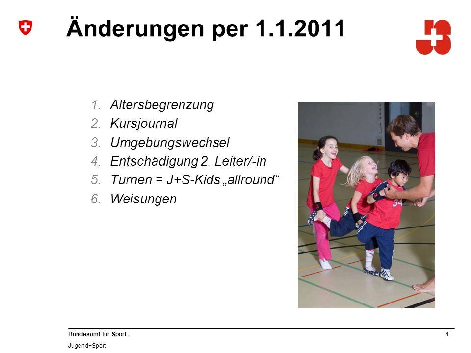 4 Bundesamt für Sport Jugend+Sport Änderungen per 1.1.2011 1.Altersbegrenzung 2.Kursjournal 3.Umgebungswechsel 4.Entschädigung 2.