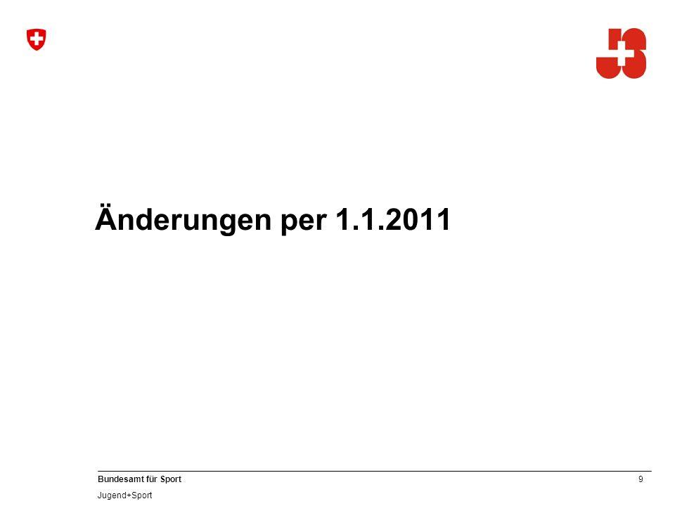 10 Bundesamt für Sport Jugend+Sport 1. Altersbegrenzung