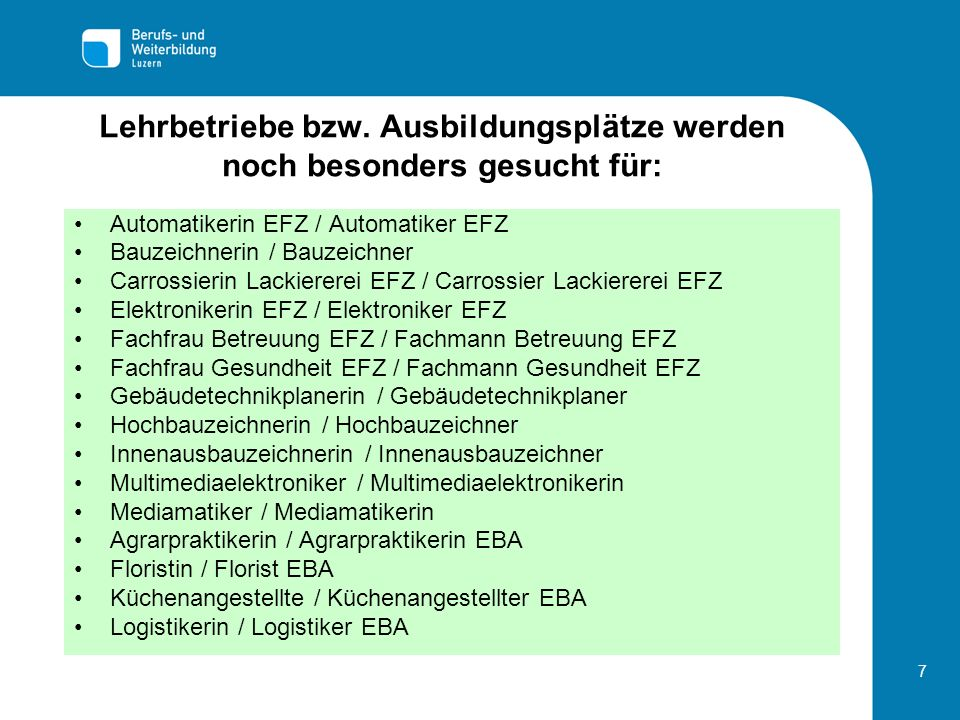 7 Lehrbetriebe bzw. Ausbildungsplätze werden noch besonders gesucht für: Automatikerin EFZ / Automatiker EFZ Bauzeichnerin / Bauzeichner Carrossierin