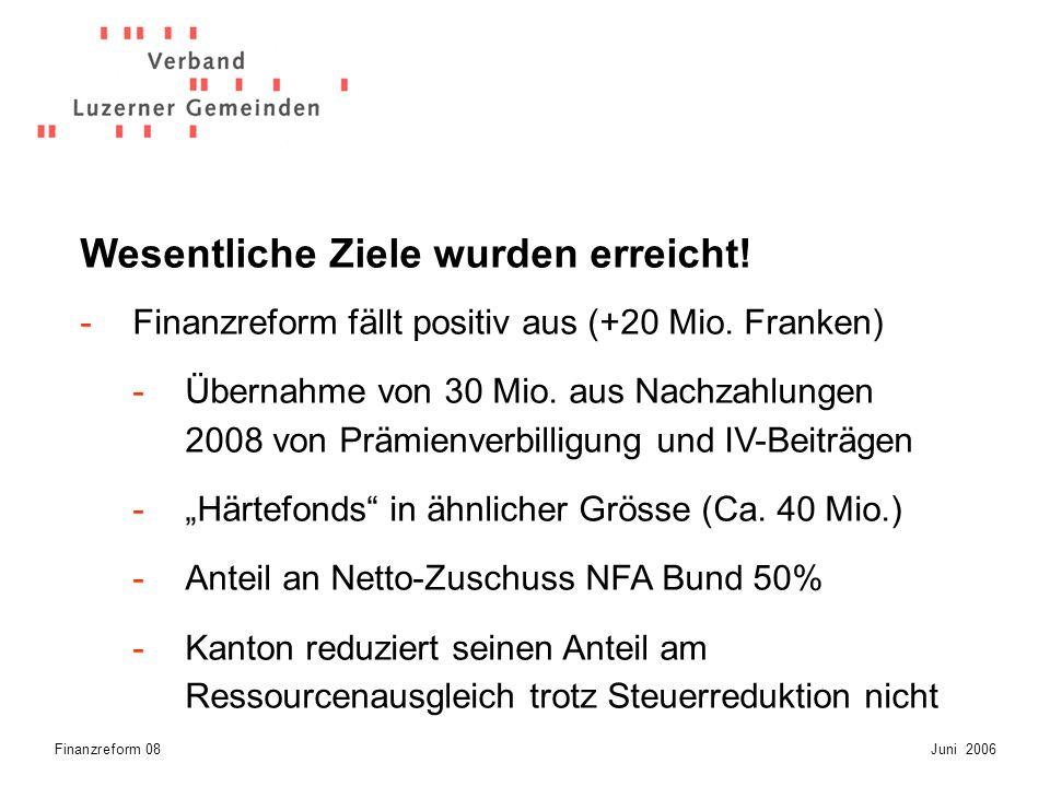 Finanzreform 08Juni 2006 -Gemeindeautonomie teilweise gestärkt -Verbundaufgaben wurden reduziert (in 13 Bereichen) -Es liegt eine Gesamtschau der drei Projekte vor.