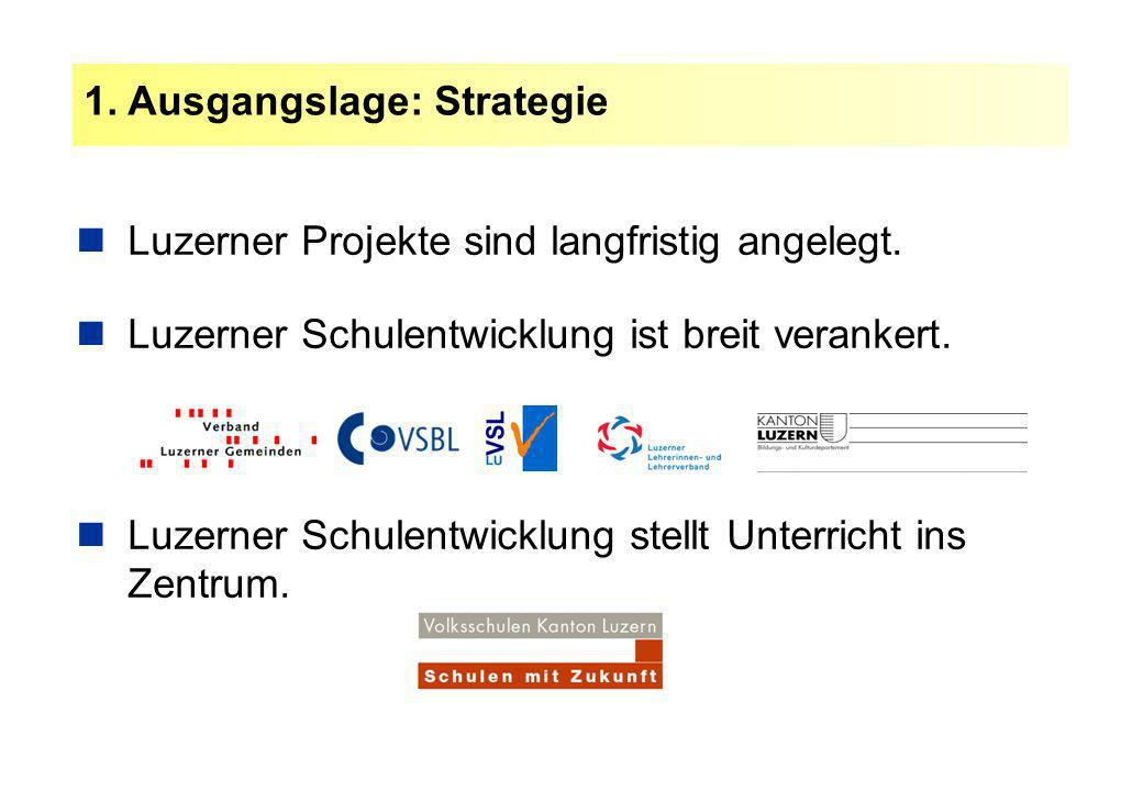 1. Ausgangslage: Strategie Luzerner Projekte sind langfristig angelegt. Luzerner Schulentwicklung ist breit verankert. Luzerner Schulentwicklung stell