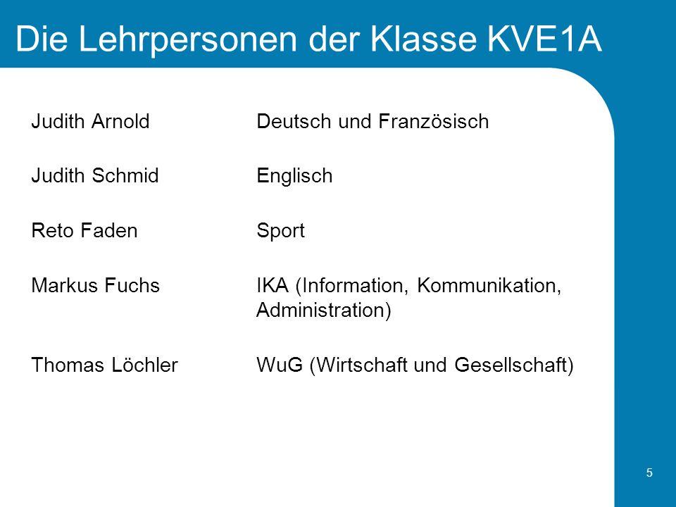 5 Die Lehrpersonen der Klasse KVE1A Judith ArnoldDeutsch und Französisch Judith SchmidEnglisch Reto FadenSport Markus Fuchs IKA (Information, Kommunik