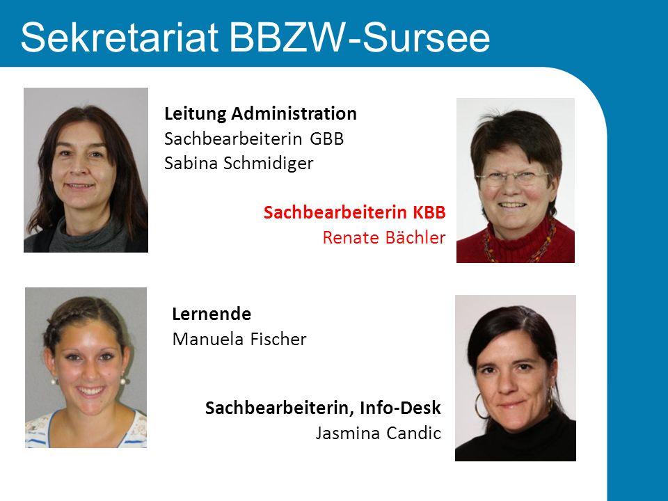 Sekretariat BBZW-Sursee Lernende Manuela Fischer Leitung Administration Sachbearbeiterin GBB Sabina Schmidiger Sachbearbeiterin KBB Renate Bächler Sac