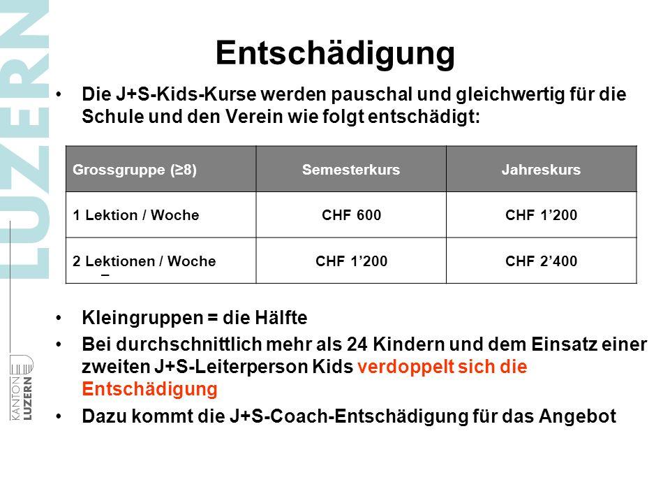 Entschädigung Die J+S-Kids-Kurse werden pauschal und gleichwertig für die Schule und den Verein wie folgt entschädigt: – Kleingruppen = die Hälfte Bei durchschnittlich mehr als 24 Kindern und dem Einsatz einer zweiten J+S-Leiterperson Kids verdoppelt sich die Entschädigung Dazu kommt die J+S-Coach-Entschädigung für das Angebot Grossgruppe (8)SemesterkursJahreskurs 1 Lektion / WocheCHF 600CHF 1200 2 Lektionen / WocheCHF 1200CHF 2400