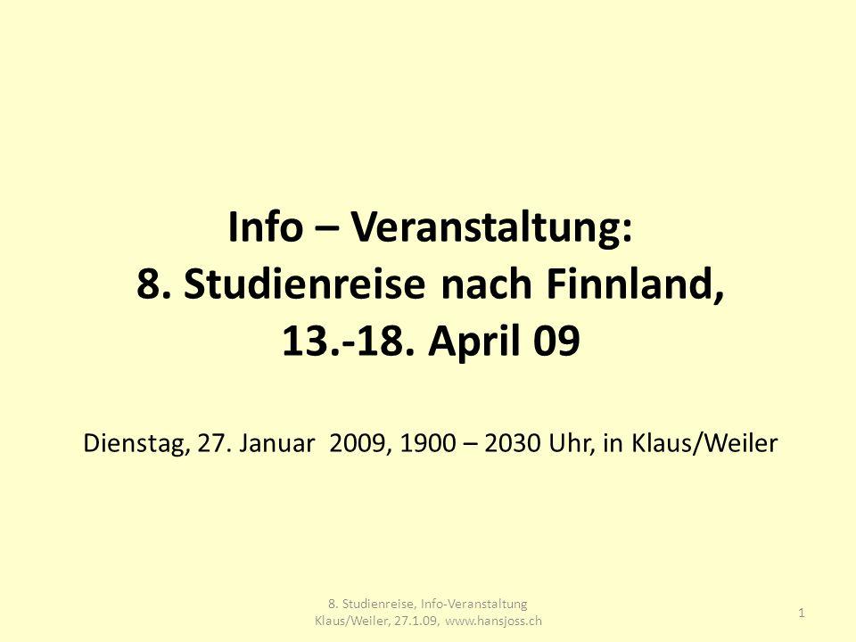 Info – Veranstaltung: 8. Studienreise nach Finnland, 13.-18.