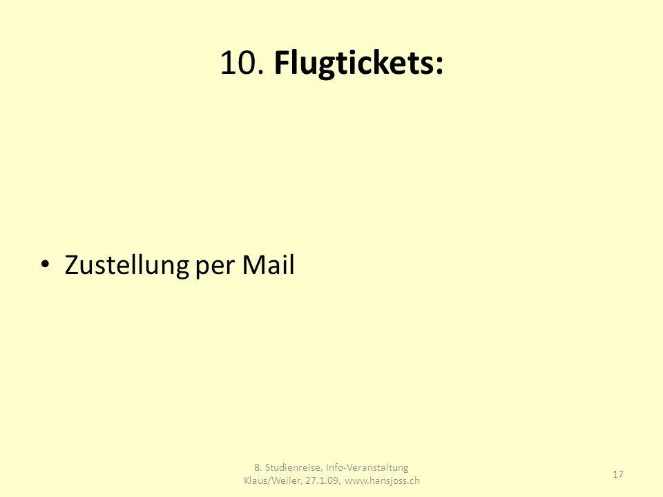 10. Flugtickets: Zustellung per Mail 17 8.