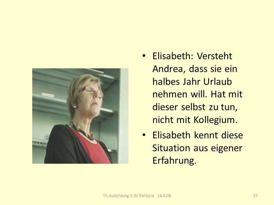 Elisabeth: Versteht Andrea, dass sie ein halbes Jahr Urlaub nehmen will.