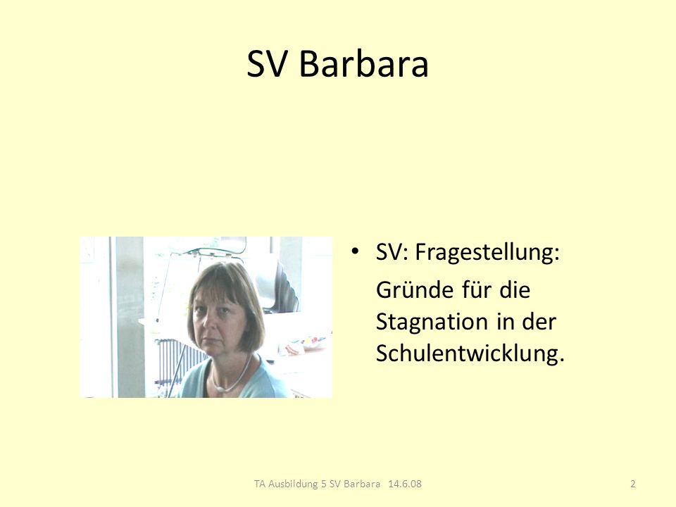 SV Barbara SV: Fragestellung: Gründe für die Stagnation in der Schulentwicklung.