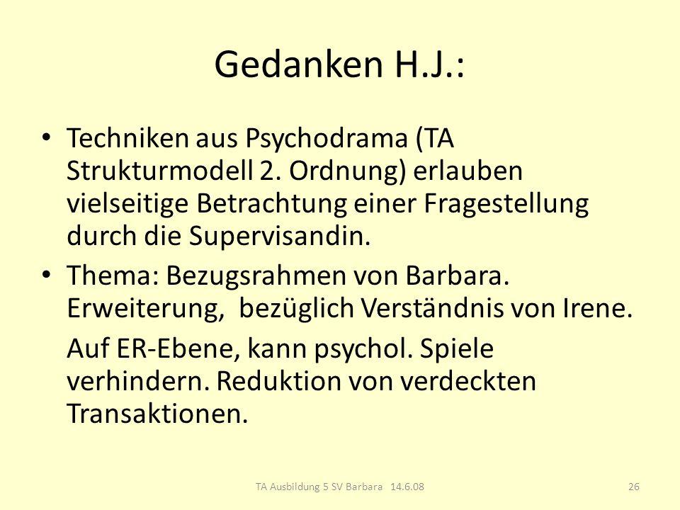 Gedanken H.J.: Techniken aus Psychodrama (TA Strukturmodell 2.