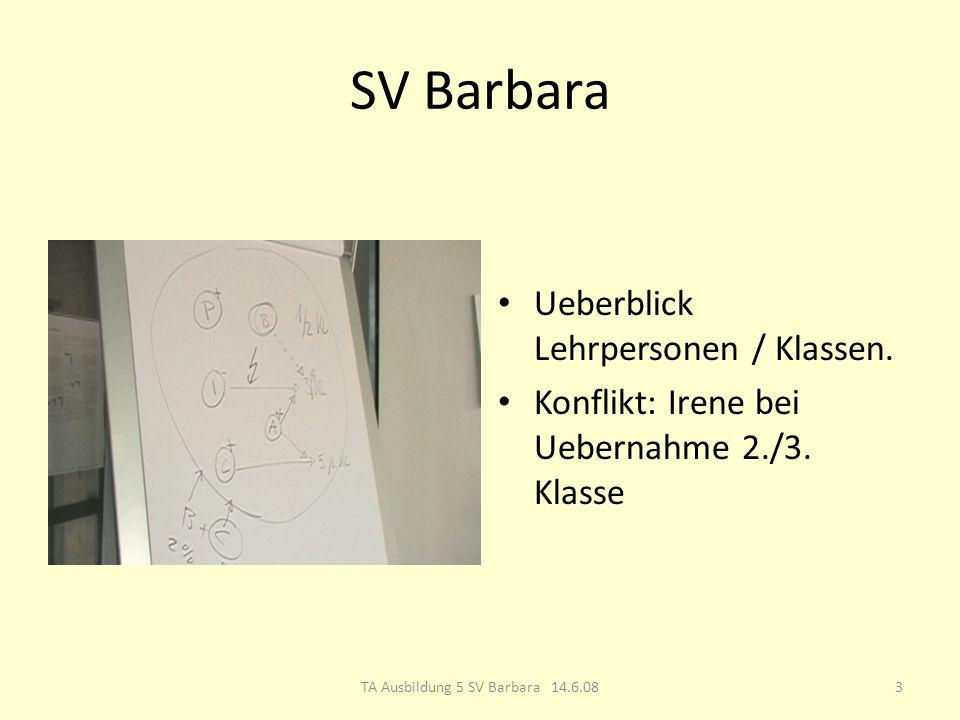 SV Barbara Ueberblick Lehrpersonen / Klassen. Konflikt: Irene bei Uebernahme 2./3.
