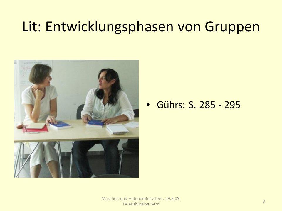Lit: Entwicklungsphasen von Gruppen Gührs: S. 285 - 295 2 Maschen-und Autonomiesystem, 29.8.09, TA Ausbildung Bern