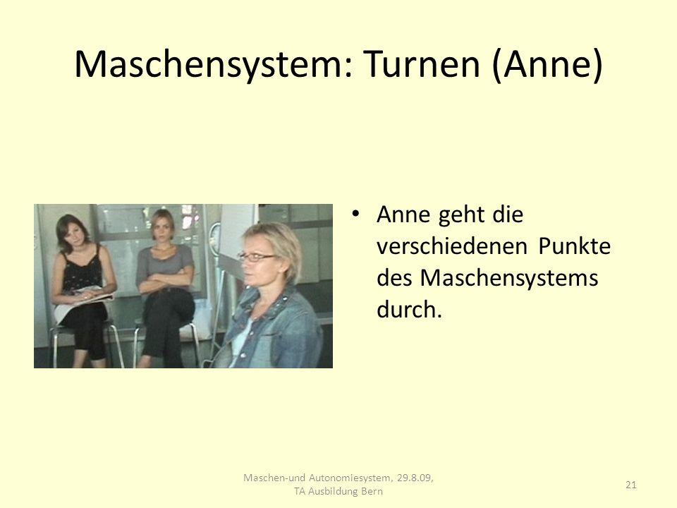 Maschensystem: Turnen (Anne) Anne geht die verschiedenen Punkte des Maschensystems durch. 21 Maschen-und Autonomiesystem, 29.8.09, TA Ausbildung Bern