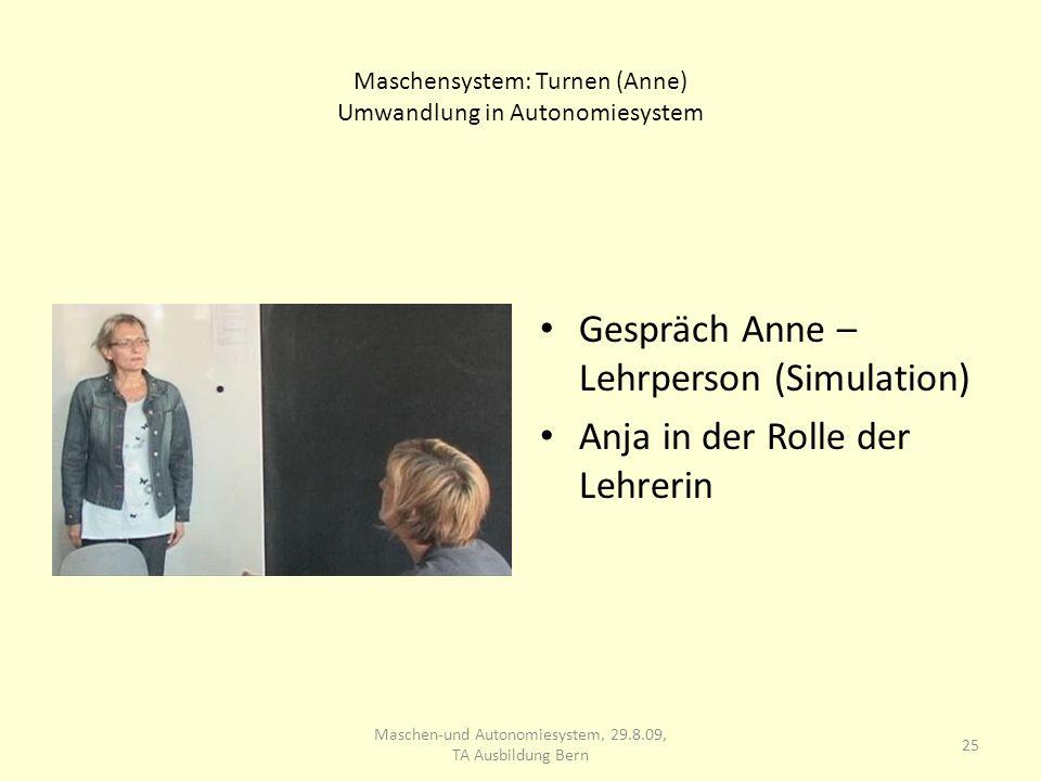 Maschensystem: Turnen (Anne) Umwandlung in Autonomiesystem Gespräch Anne – Lehrperson (Simulation) Anja in der Rolle der Lehrerin 25 Maschen-und Auton