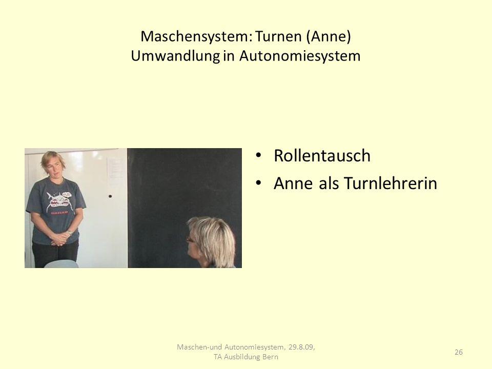 Maschensystem: Turnen (Anne) Umwandlung in Autonomiesystem Rollentausch Anne als Turnlehrerin 26 Maschen-und Autonomiesystem, 29.8.09, TA Ausbildung B