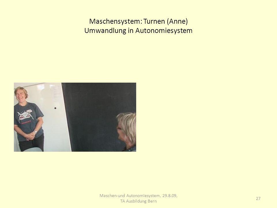 Maschensystem: Turnen (Anne) Umwandlung in Autonomiesystem 27 Maschen-und Autonomiesystem, 29.8.09, TA Ausbildung Bern