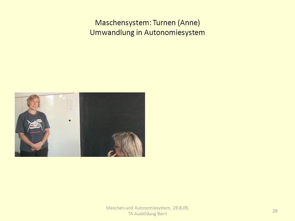 Maschensystem: Turnen (Anne) Umwandlung in Autonomiesystem 28 Maschen-und Autonomiesystem, 29.8.09, TA Ausbildung Bern