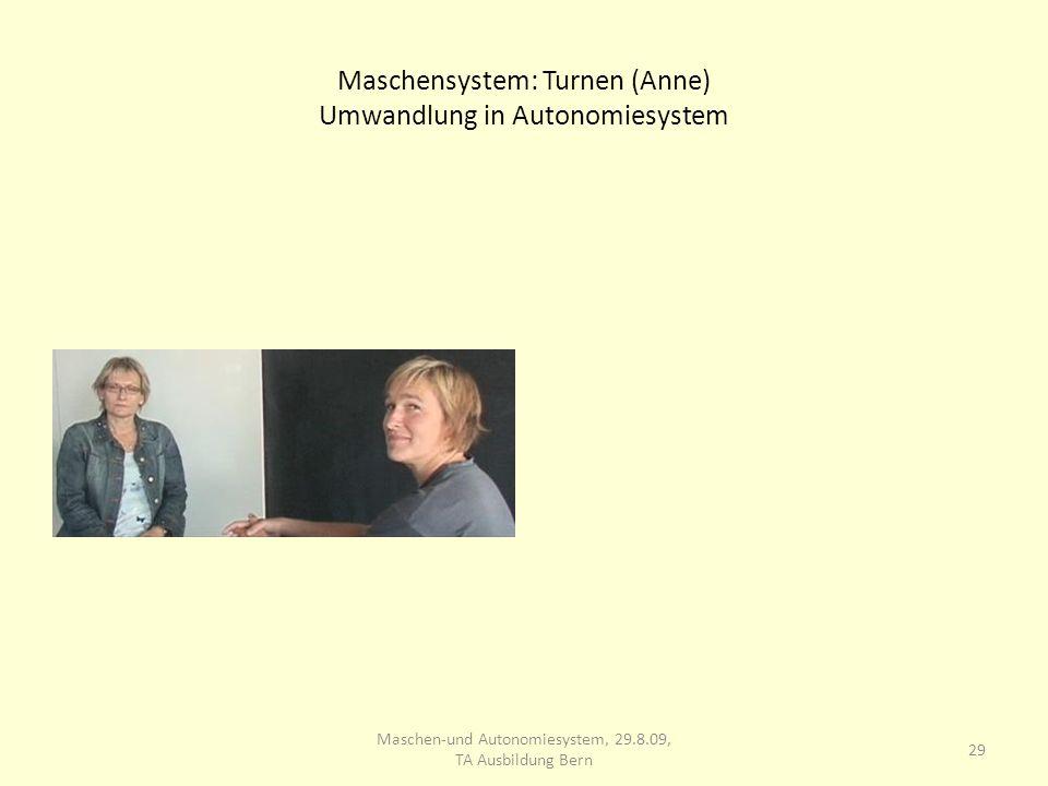 Maschensystem: Turnen (Anne) Umwandlung in Autonomiesystem 29 Maschen-und Autonomiesystem, 29.8.09, TA Ausbildung Bern