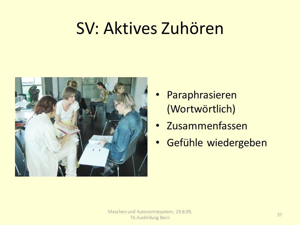 SV: Aktives Zuhören Paraphrasieren (Wortwörtlich) Zusammenfassen Gefühle wiedergeben 37 Maschen-und Autonomiesystem, 29.8.09, TA Ausbildung Bern