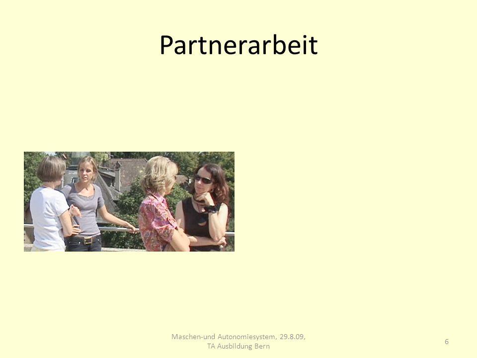 Partnerarbeit 6 Maschen-und Autonomiesystem, 29.8.09, TA Ausbildung Bern