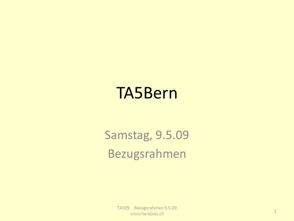 TA5Bern Samstag, 9.5.09 Bezugsrahmen 1 TA509 Bezugsrahmen 9.5.09 www.hansjoss.ch