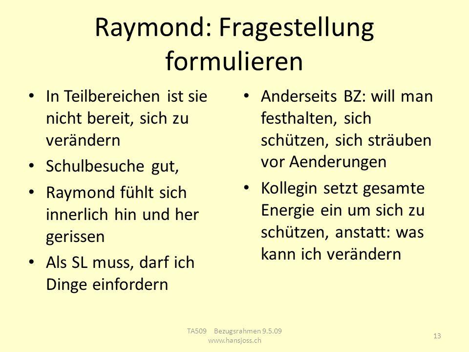 Raymond: Fragestellung formulieren In Teilbereichen ist sie nicht bereit, sich zu verändern Schulbesuche gut, Raymond fühlt sich innerlich hin und her