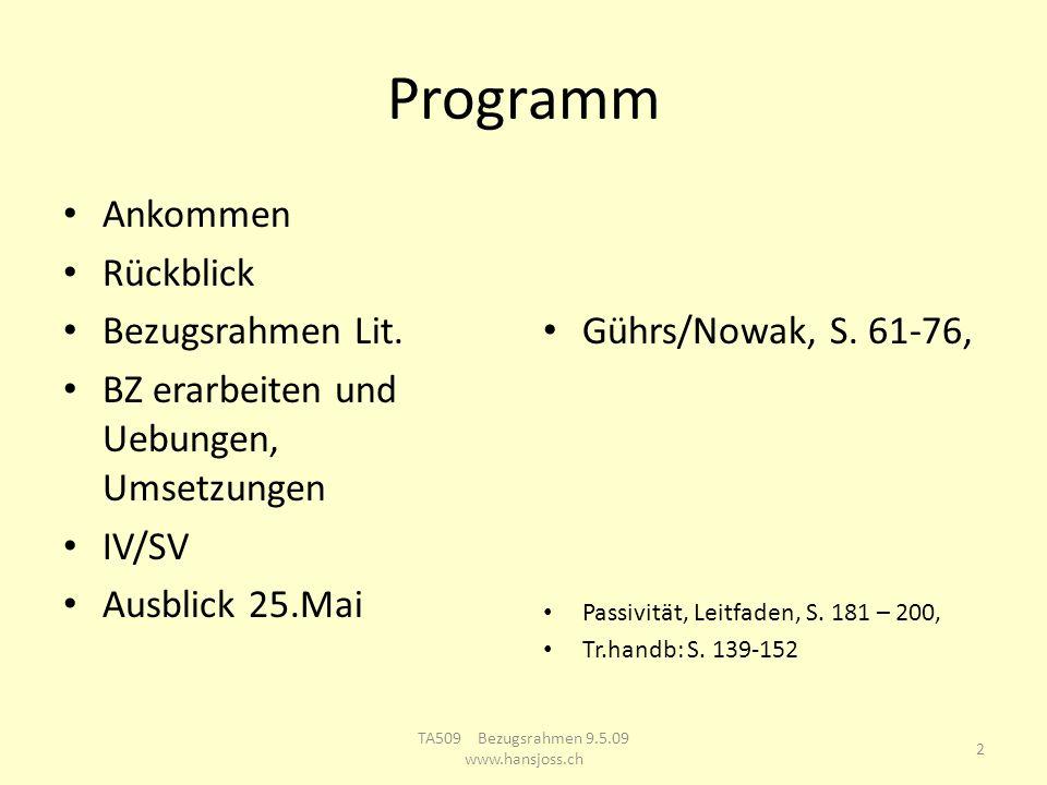 Programm Ankommen Rückblick Bezugsrahmen Lit. BZ erarbeiten und Uebungen, Umsetzungen IV/SV Ausblick 25.Mai Gührs/Nowak, S. 61-76, Passivität, Leitfad