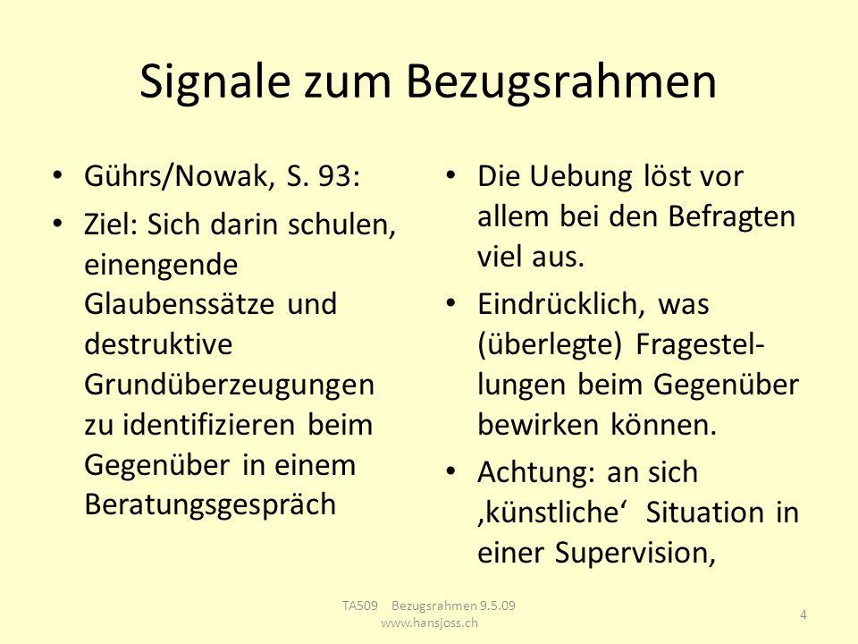 Signale zum Bezugsrahmen Gührs/Nowak, S. 93: Ziel: Sich darin schulen, einengende Glaubenssätze und destruktive Grundüberzeugungen zu identifizieren b